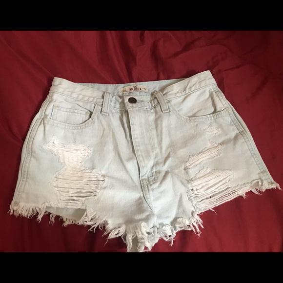 Hollister Pants - Hollister Light Blue Washed Distressed Shorts